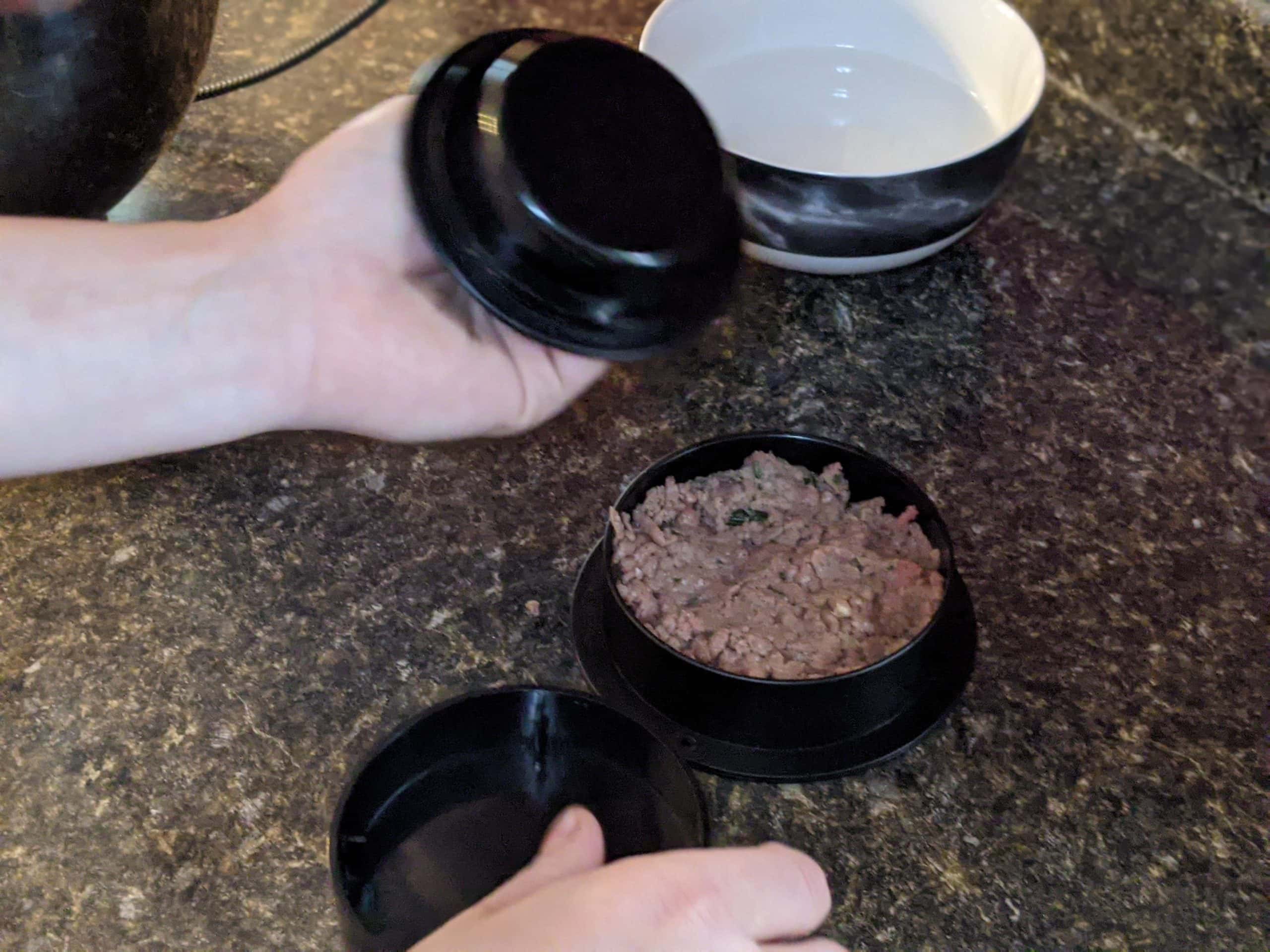 creating an indent in burger meat