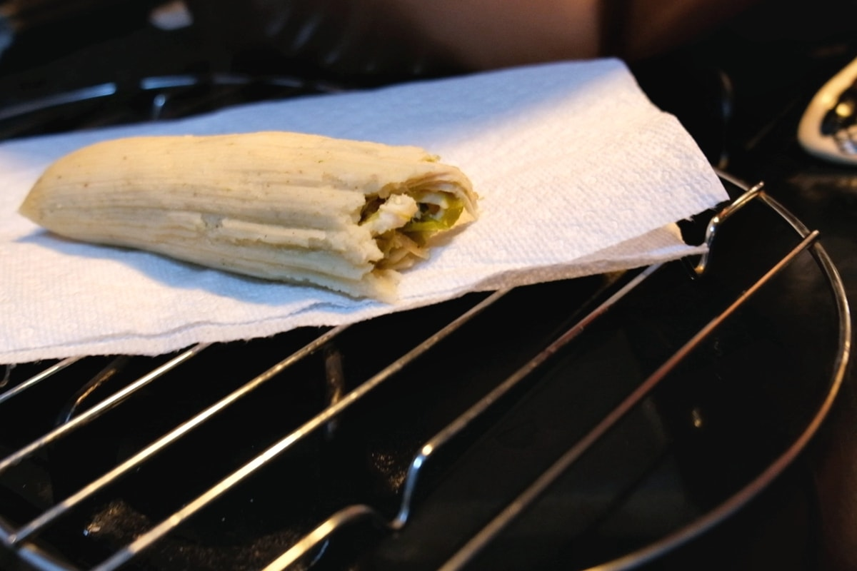 Finished Green Chile Chicken Tamale